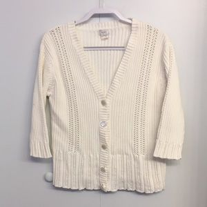Sweaters - Alps All Season Cotton Knit 3/4 Sleeve Cardigan L